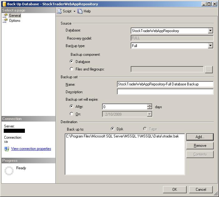 Como cambiar el directorio default para respaldos de bases de datos en SQL Server 2005