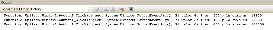 Output de un Tracepoint en Visual Studio