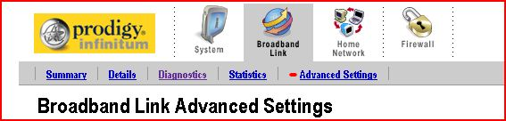 Broadband Link Advanced Settings