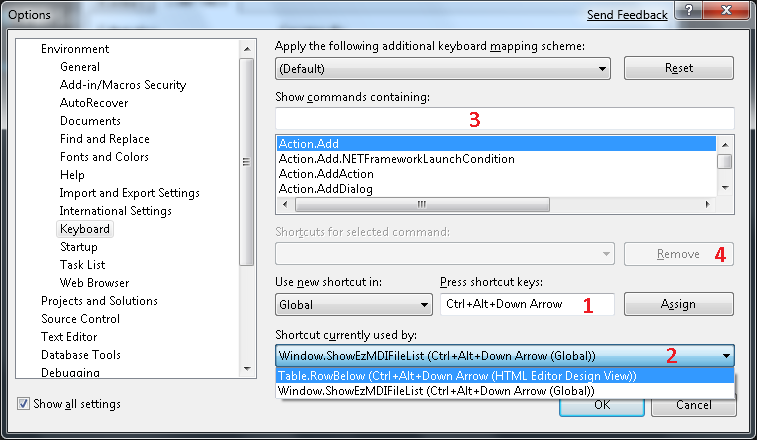 Como corregir posibles problemas de Keyboard Shortcuts en Visual Studio