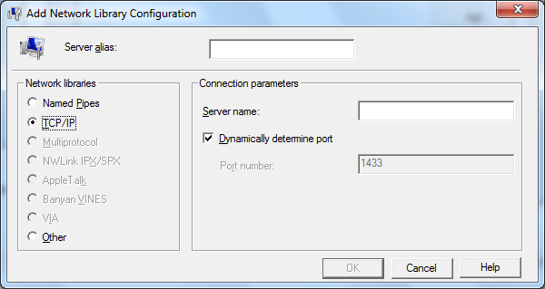 Nuevo SQL Alias usando cliconfg