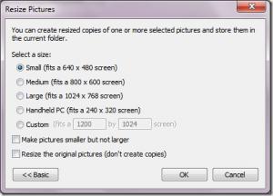 Opciones de tamaño para el Image Resizer de Windows 7