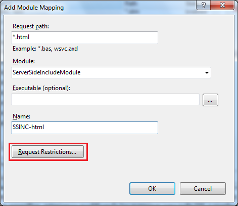 Nuevo Module Mapping para SSI en IIS 7