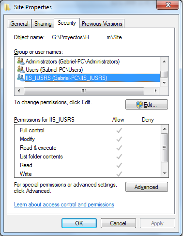 IIS 7 SSI Correct File Permissions