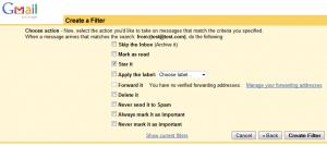 Opciones de filtro de correo en Gmail