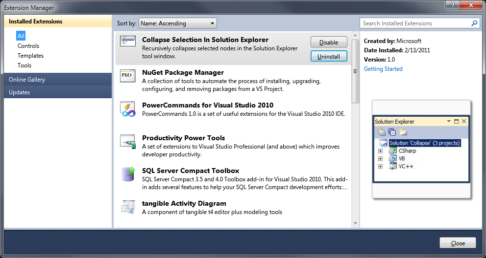 Visual Studio 2010 Extension Manager