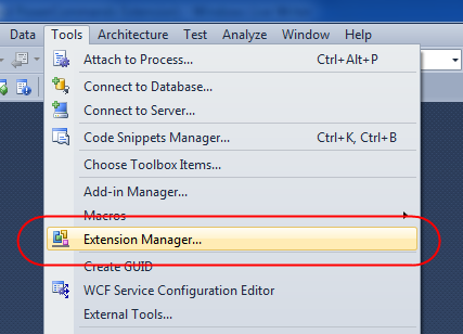 Visual Studio Extension Manager Tool Menu