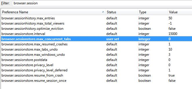 Firefox configuracion - cargar un solo tab a la vez